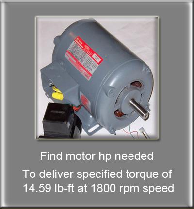 Motor Horsepower Given Torque Calculator